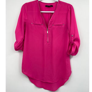 Paper Tee Pink 3/4 Sleeve Zippered Front Blouse
